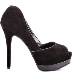 Evette will make it easy to create the perfect outfit.  Jessica Simpson introduces this adorable pump with its luxurious black suede upper and curved sides.  This show stopping peep toe will help make your entrance with its 5 inch heel and 1 1/2 inch platform.