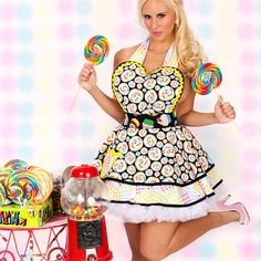 Lollipop Candy Rainbow Pinup Apron with Cupcakes by dottiesdiner, $88.00