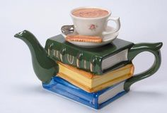 Books and Tea ~ Creating a Literary Tea Party Books And Tea, Buch Design, Teapot Design, Tea Reading, Teapots Unique, Cuppa Tea, Teapots And Cups, My Cup Of Tea, Chocolate Pots