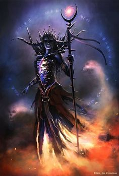female undead lich wizard witch by Bryan Marvin P. Sola | NOT OUR ART - Please click artwork for source | WRITING INSPIRATION for Dungeons and Dragons DND Pathfinder PFRPG Warhammer 40k Star Wars Shadowrun Call of Cthulhu and other d20 roleplaying fantasy science fiction scifi horror location equipment monster character game design | Create your own RPG Books w/ www.rpgbard.com