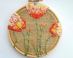 Colourful Poppy Floral Embroidery Art