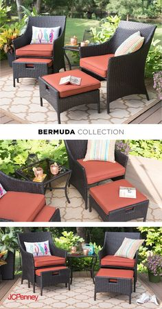 When the days last longer and the sun shines brighter, you know it's the perfect time for some poolside lounging! Make the most of the warm weather with these casual yet stylish woven lounge chairs and a lightweight side table. These pieces are a must-have to create an inspiring summer patio ensemble. The Bermuda orange cushions nicely contrasts the black-toned frame of the chairs and table, while also adding warmth and color to your backyard.