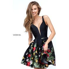 Black Sherri Hill 50776 Short Print Homecoming Dress