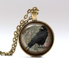 Gothic jewelry Crow chain Bird charm RO1681 by UKnecklace on Etsy