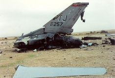 Remains of F-16C #87-0257 from the 614th Tactical Fighter Squadron 'Lucky Devils', shot down over Iraq during Operation Desert Storm. The wreckage was discovered by US forces during Desert Storm and the canopy was found by US forces during Operation Iraqi Freedom. The canopy and photos are now part of a display at the Pima Air and Space Museum.