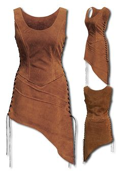 Color:  LIGHTBROWN This noble Andracor Ladyarmour of tear-resistant but soft suede  is beautifully designed by the upper legs, a full robe or light armour for women. A stylish choice for Shield Maiden, Forest Runners and other...