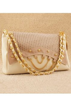 Elegant Studded Shoulder Bag with Adjustable Metal Strap