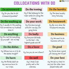 In the English language, collocation refers to a natural combination of words that are closely affiliated with each other. Some examples of v Learn English Grammar, English Vocabulary Words, English Phrases, Grammar And Vocabulary, English Idioms, English Language Learning, Teaching English, Transition Words And Phrases, Words To Use