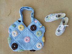 crochet donut crochet purse, crochetbug, crochet squares, donut vans, granny square bag, crocheted, crocheting