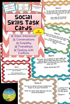 Social Skills Task Cards - 80 Cards with social situations. Focus on conversations, basic interactions, empathy, dealing with conflicts, and friendships.