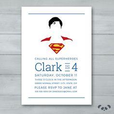 Superman Birthday Invitation Superhero by PandafunkCreations