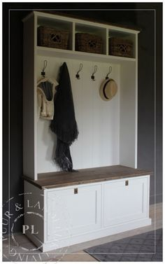 Hallway Storage, Garage Storage, Hall Furniture, Scandi Style, Mudroom, Building A House, Sweet Home, Shabby, Living Room