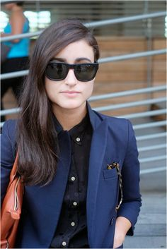 Black and navy Office Fashion, Work Fashion, Fashion Beauty, Fashion Outfits, What Should I Wear Today, Black And Navy, Passion For Fashion, Personal Style, Jackets For Women