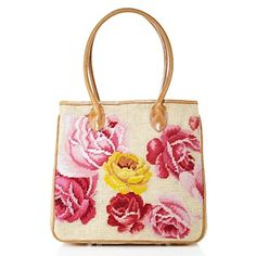 Clever Carriage Pink and Yellow Needlepoint Rose Raffia Tote at HSN.com.