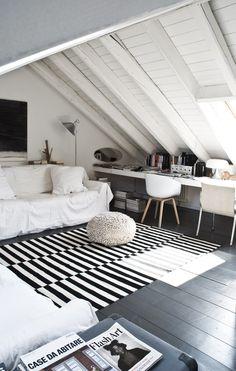 My home . home sweet home! Attic Bedroom Designs, Attic Bedrooms, Attic Design, Guest Bedrooms, Interior Design, Workspace Inspiration, Interior Inspiration, Cute Bedroom Ideas, Loft Room