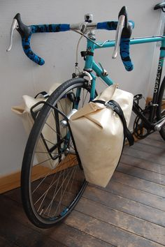 Custom build front tarp panniers and rack. Ready for touring! Bicycle touring, bag, pannier, front, rack, diy.