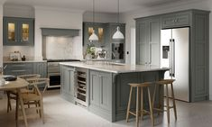 Concentrating on the details in the contemporary grey kitchen CGI has delivered an impressive result with the subtle texture details really shining through. Oak furnishings and solid surfaces complete the style. Shaker Style Kitchens, Grey Kitchens, Luxury Kitchens, Home Kitchens, Shaker Style Cabinets, Kitchen Tiles Design, Grey Kitchen Designs, Grey Kitchen Cabinets, Grey Shaker Kitchen