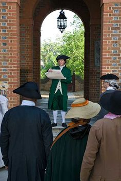 During Colonial Williamsburg's Revolutionary City program, costumed interpreters read the Declaration of Independence at the Capitol.