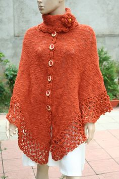 Womens poncho orange poncho fringed poncho winter | Etsy