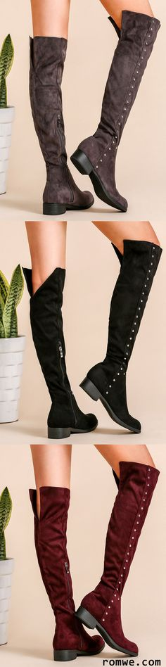 Faux Suede Point Toe Knee Boots