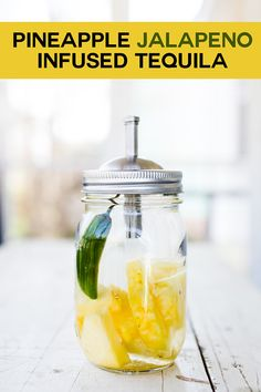 Pineapple Jalapeño Infused Tequila - infusing tequila is so easy and it makes your margaritas taste amazing! Turn a simple margarita into a pineapple jalapeño margarita! It makes a great Christmas gift for your cocktail loving friends! #infusedtequila #jalapenotequila #pineappletequila