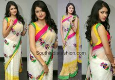 Kushi in White Saree ~ Celebrity Sarees, Designer Sarees, Bridal Sarees, Latest Blouse Designs 2014