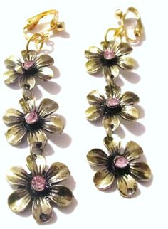 2 PAIR  Gold Plated Pink Beaded & Green Beaded by KorgisCreations, $16.99