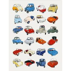 Oopsy Daisy - Microcars Canvas Wall Art 18x24, Christine Berrie