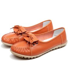 Sale 10% (24.87$) - Women Casual Soft Comfortable Outdoor Lace Up Leather Flat Loafers Shoes
