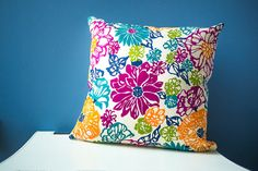 Flower Throw Pillow Cover / Cotton 16x16 - Colorful Floral / Pink Blue Green Yellow / Kids Room Baby Nursery / Home Decor / Housewarming by ThimbleAndTag on Etsy