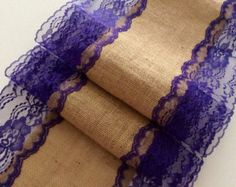"""9ft Burlap Lace Runner Wedding table runner with Royal Purple Lace, 13in Wide x 108""""Long, Rustic, Peacock Wedding Decor"""