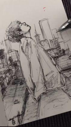 Omg so cooollll Kpop Drawings, Art Drawings Sketches Simple, Pencil Art Drawings, Sketch Drawing, Anime Sketch, Sketching, Arte Sketchbook, Art Reference Poses, Aesthetic Art