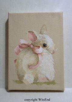 'SHY SAFFRON'. Baby Bunny painting Rabbit  original art animal pet by 4WitsEnd, via Etsy  SOLD
