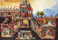 Library: book city / Biblioteca: ciudad de libros (ilustración de Colin Thompson)