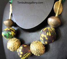 ASHANTI Queen... ARTISAN tribal fusion, large Korobo glass beads with Ashanti Akan bronze necklace. Artisan necklace designer, Tuareg beads by Timbuktugallery on Etsy
