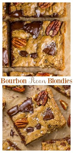 Brown Butter Bourbon Pecan Chocolate Chunk Blondies are chewy, crunchy, and loaded with gooey pockets of chocolate! The bourbon gives them a subtle kick without being overpowering! This easy and crowd Köstliche Desserts, Delicious Desserts, Yummy Food, Butter Pecan, Brown Butter, Brownie Recipes, Cookie Recipes, Cheesecakes, Dessert Bars