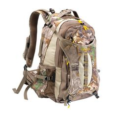 The Canyon Daypack has a 2150 cubic inch capacity and quiet, 240g brushed tricot fabric construction. This hydration ready bag features Realtree Xtra camo, a bow/gun carry system, bright colored lining and zipper pulls to help locate your gear in low-light conditions. The bag also has several internal organizer pockets, dual water bottle holders, a large front compression panel, padded shoulder strips with load-lifting adjustment, and adjustable bed roll straps that can hold extra clothing.