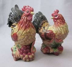 Hen & Rooster Salt & Pepper Shakers Fitz Floyd Country Gourmet