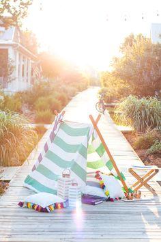 Build your own tent - outdoor ideas for kids - Hedgehouse travel towels - www.pencilshavingsstudio.com