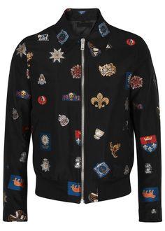 Alexander McQueen blacksatin bomber jacket  Embroidered, designer stamped, side slip pockets, button-fastening cuffs,ribbed trims, internal slip pocket, fully lined Zip fastening through front 42% polyester, 37% cotton, 21% silk; lining: 100% viscose