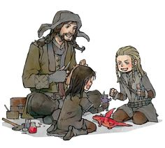 Bofur watching a young Fili an Kili. Had to pin it cause I love Bofur so much and this drawing is fantastic.