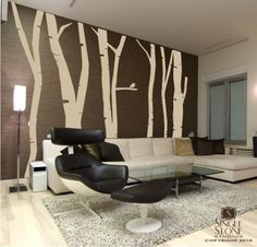 Birch Tree Wall Decals Extra Tall Free by singlestonestudios, $175.00