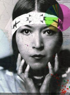 Jackie Bassett, amerindian, vintage photo, map, art, contemporary collage