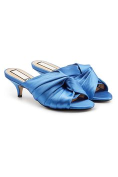 Twist-front Open-toe Satin Mules In Blue Kitten Heel Pumps, High Heel Pumps, Pump Shoes, Open Toe Mules, N21, Blue Satin, Blue Fashion, Spring, Heeled Mules