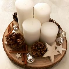 Tree Slice Winter Decoration Candles Advent Wreath, - Diy W .- Baumscheibe Winterdekoration Kerzen Adventskranz, … – Diy W… Tree slice winter decoration candles advent wreath, - Noel Christmas, Christmas Candles, Christmas Centerpieces, Xmas Decorations, Winter Christmas, Christmas Wreaths, Christmas Crafts, Advent Wreath Candles, Advent Wreaths
