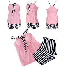Summer Women's Pink Sexy 2-Peices Strips Camisole Tankini Swimwear Swim Dresses