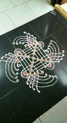 Rangoli Kolam Designs on Happy Shappy in 2019 Simple Rangoli Images, Rangoli Designs Photos, Rangoli Photos, Indian Rangoli Designs, Rangoli Border Designs, Small Rangoli Design, Rangoli Designs With Dots, Beautiful Rangoli Designs, Mehndi Designs