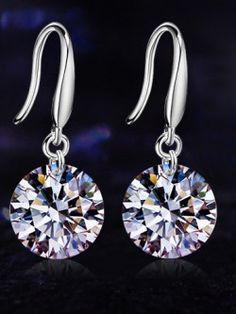 Silver Drop Zircon Stone Earrings
