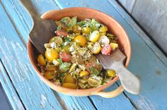 Two Blue Lemons: Tomato & Corn Salad with Lemon-Poppy Dressing