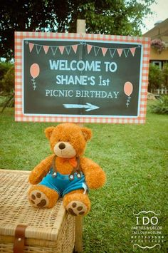 Welcome sign from a Teddy Bear Picnic Birthday Party via Kara's Party Ideas | KarasPartyIdeas.com | The Place for All Things Party! (3)